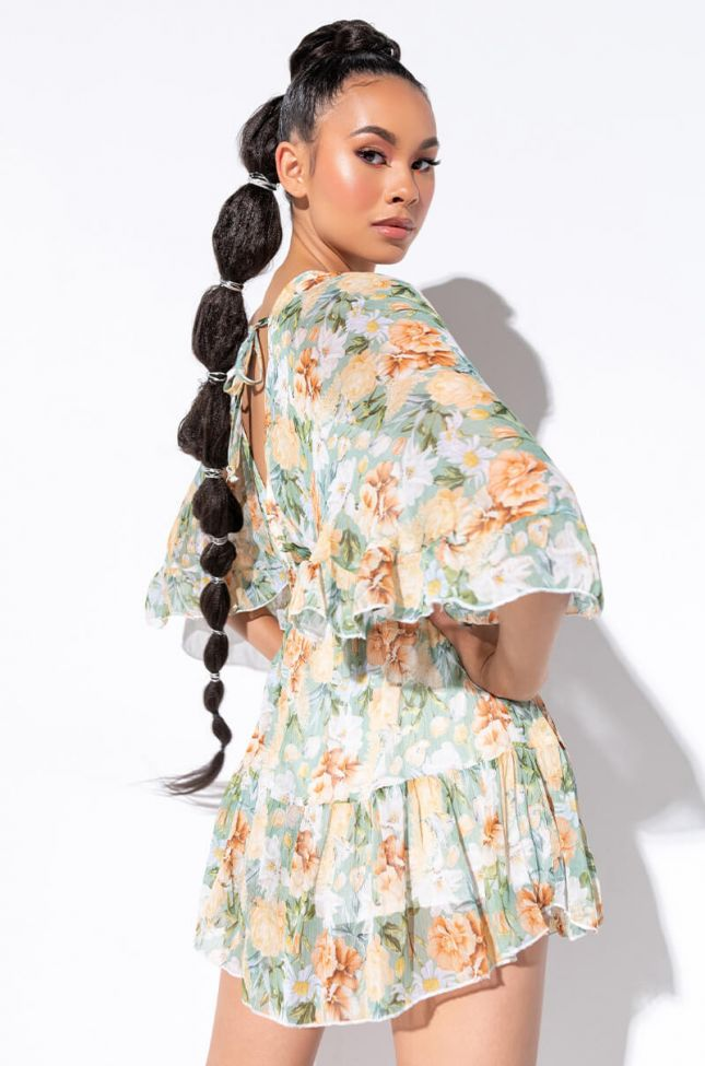 Back View Lost In This Floral Romper in Green Multi