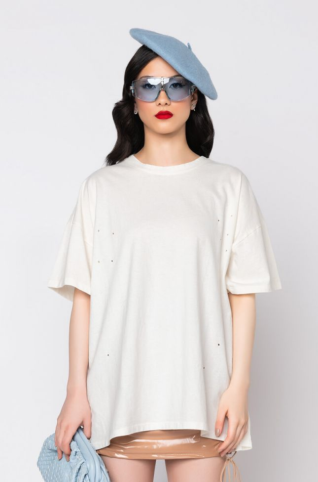 Front View Lost In Your Mind Oversized T-shirt Dress in White
