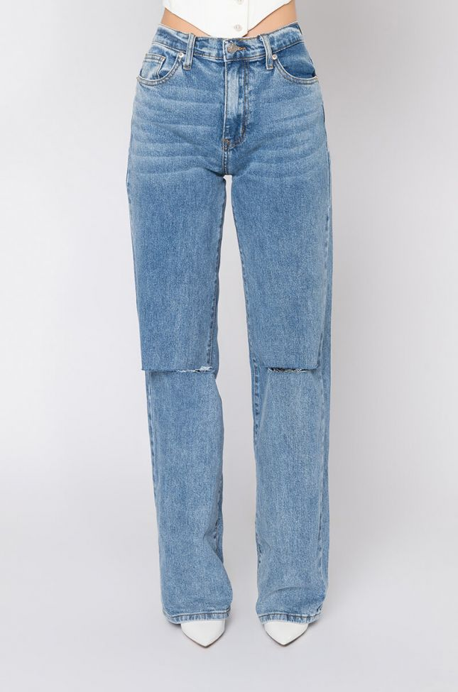 Front View Louise High Waisted Relaxed Jeans With Knee Slits in Medium Blue Denim