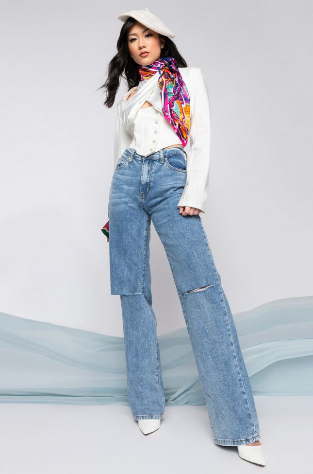 Louise High Waisted Relaxed Jeans With Knee Slits in Medium Blue Denim