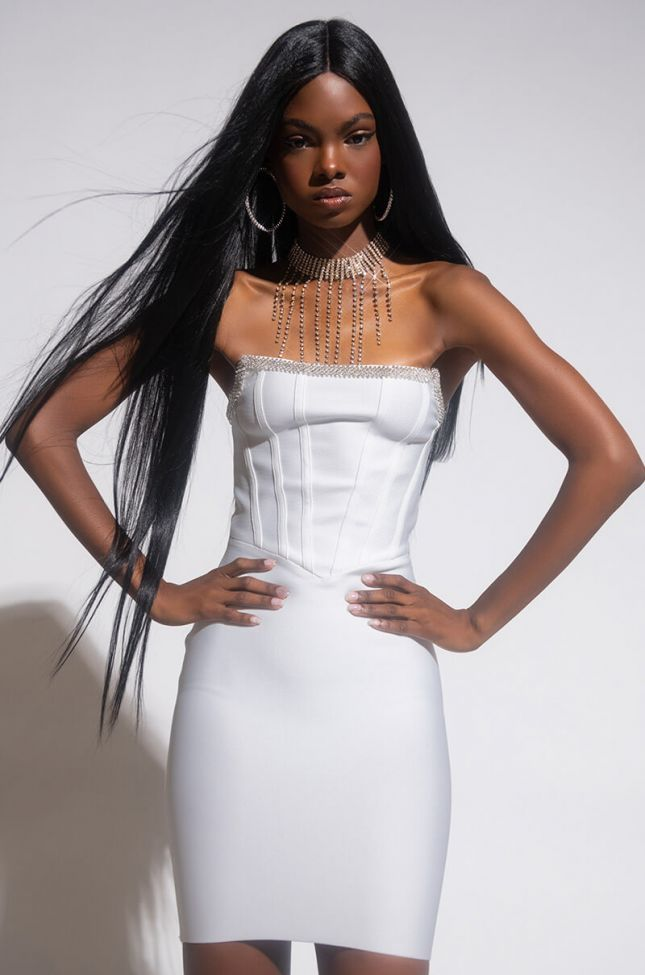 Front View Love And Desire Midi Strapless Dress in White