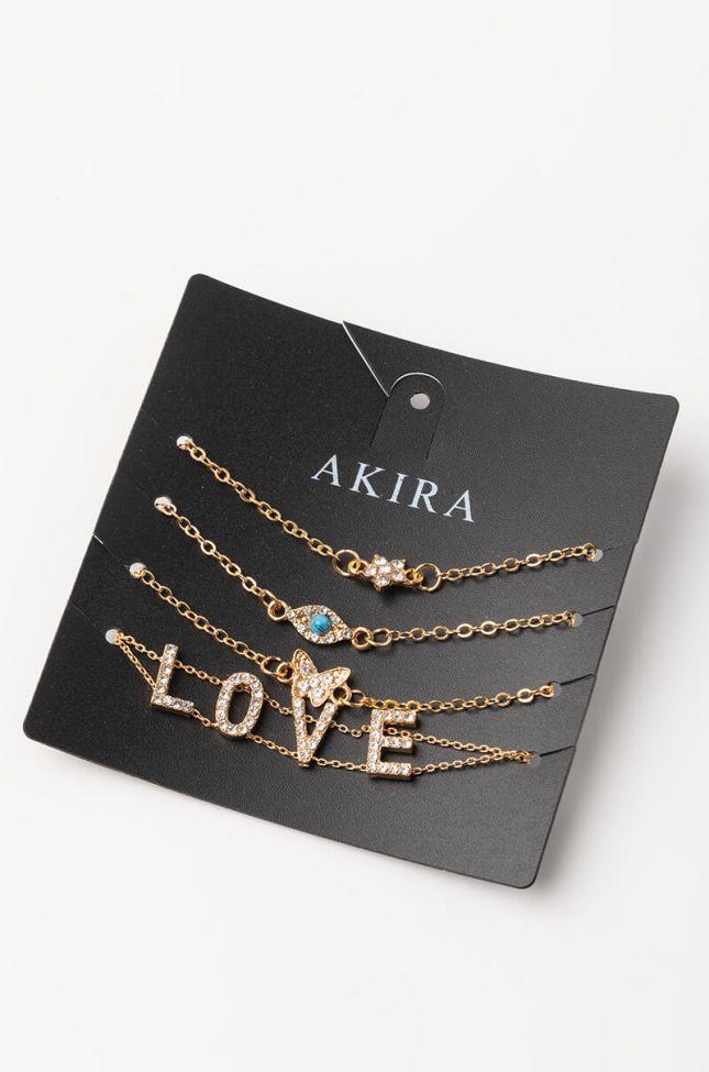 Front View Love Bracelet Set in Gold