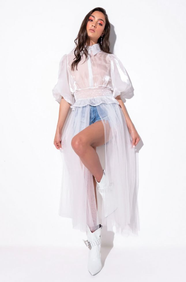 Front View Love Dust Tulle High Low Blouse