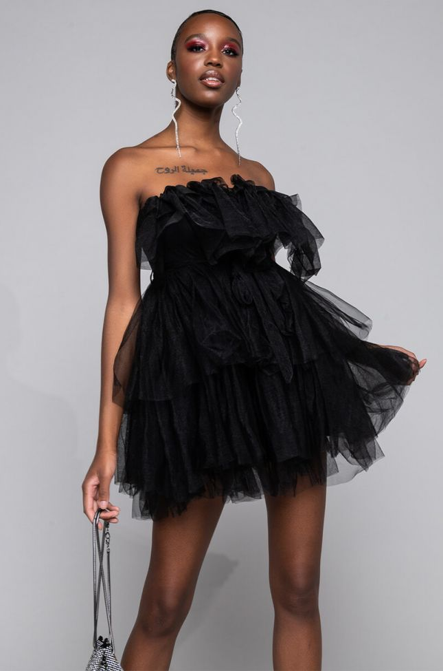 Front View Love Galore Mini Tulle Dress in Black