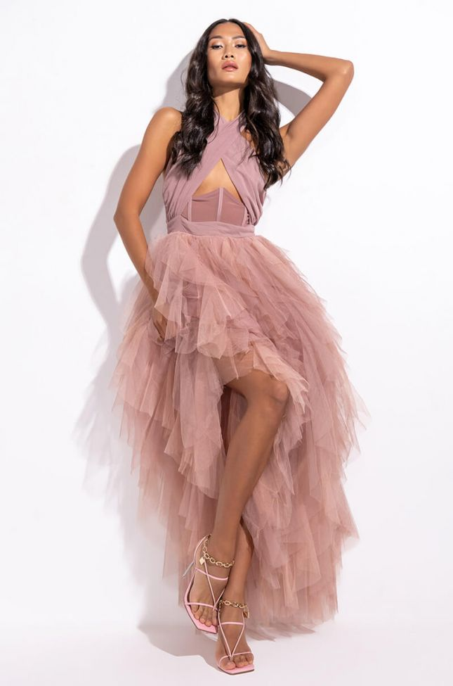 Front View Love In A Hopeless Place Ruffle Detail Halter Maxi Dress