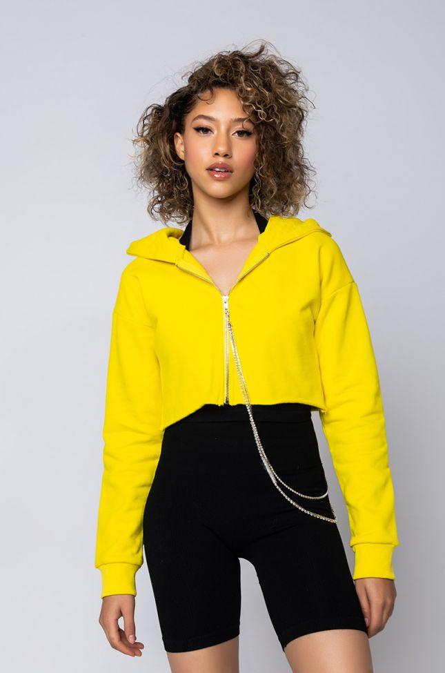 Front View Love Is Blind Zip Crop Top in Yellow