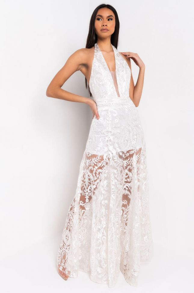 Front View Love Is Lace Detail Halter Dress