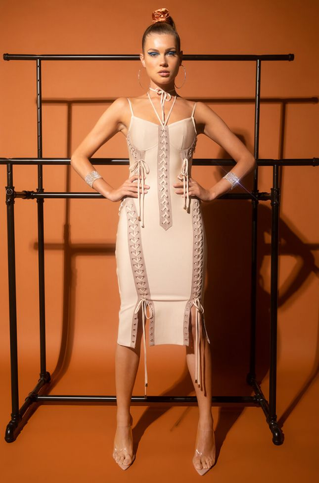 Side View Love It Lace Up Midi Bandage Dress in Light Brown