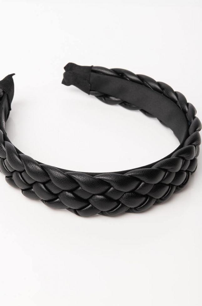 Back View Love Language Braided Headband in Black