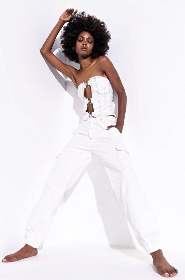 Love Locked Down Cargo Pants in White Multi
