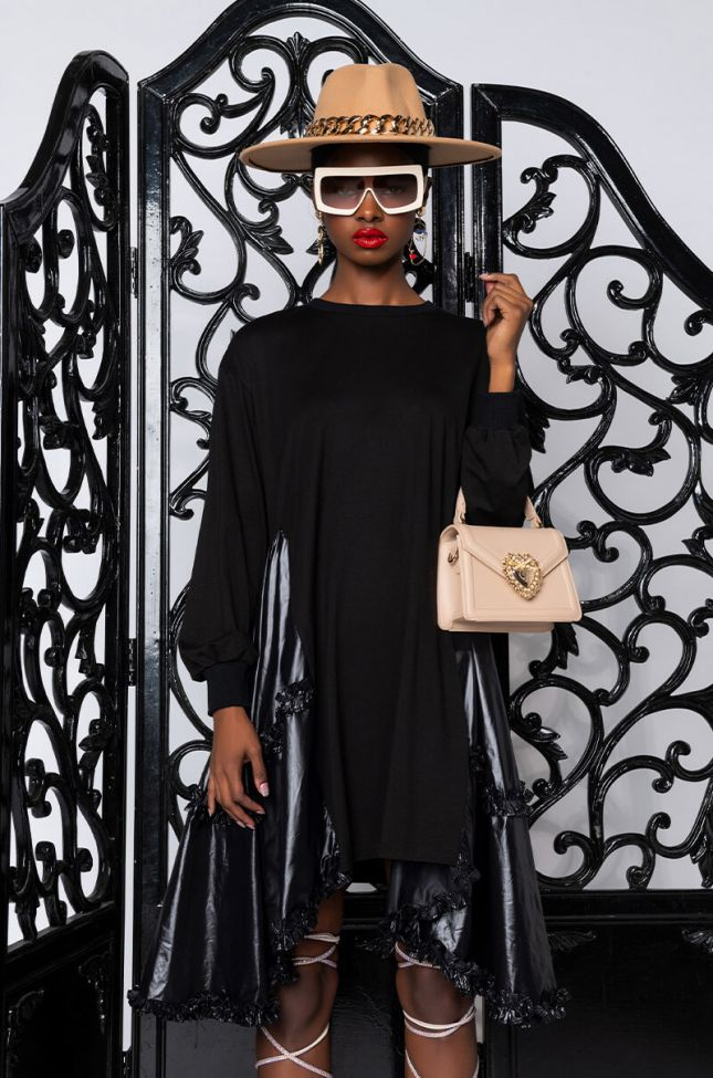Front View Love Me Or Hate Me Oversized T-shirt Dress With Contrast Fabric in Black