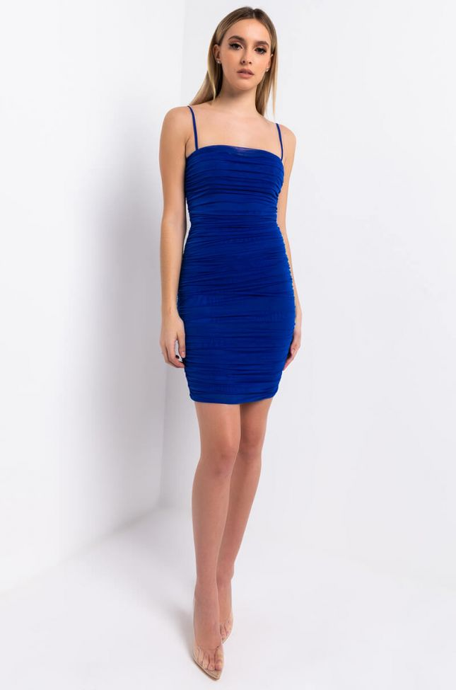Full View Love Me Or Hate Me Ruched Thin Strap Mini Dress in Blue