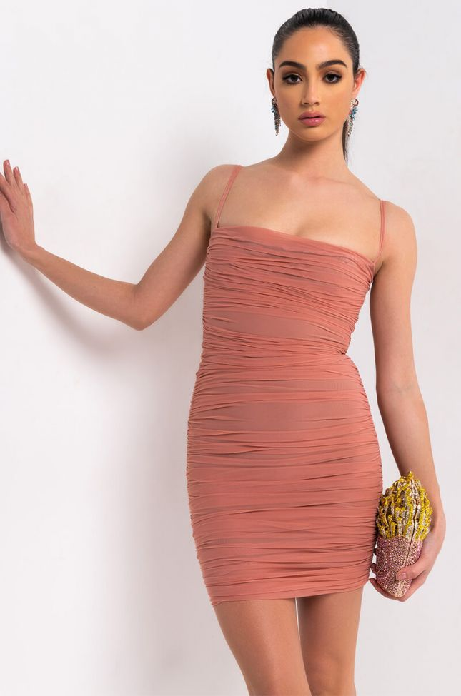 Front View Love Me Or Hate Me Ruched Thin Strap Mini Dress in Pink