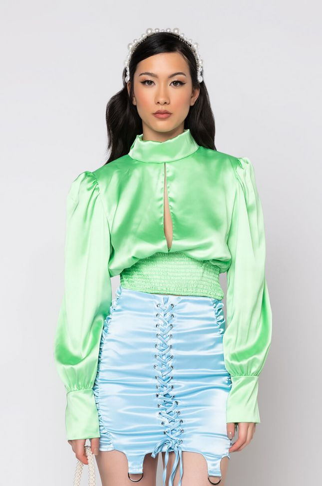 Front View Love My Every Move Long Sleeve Blouse in Mint