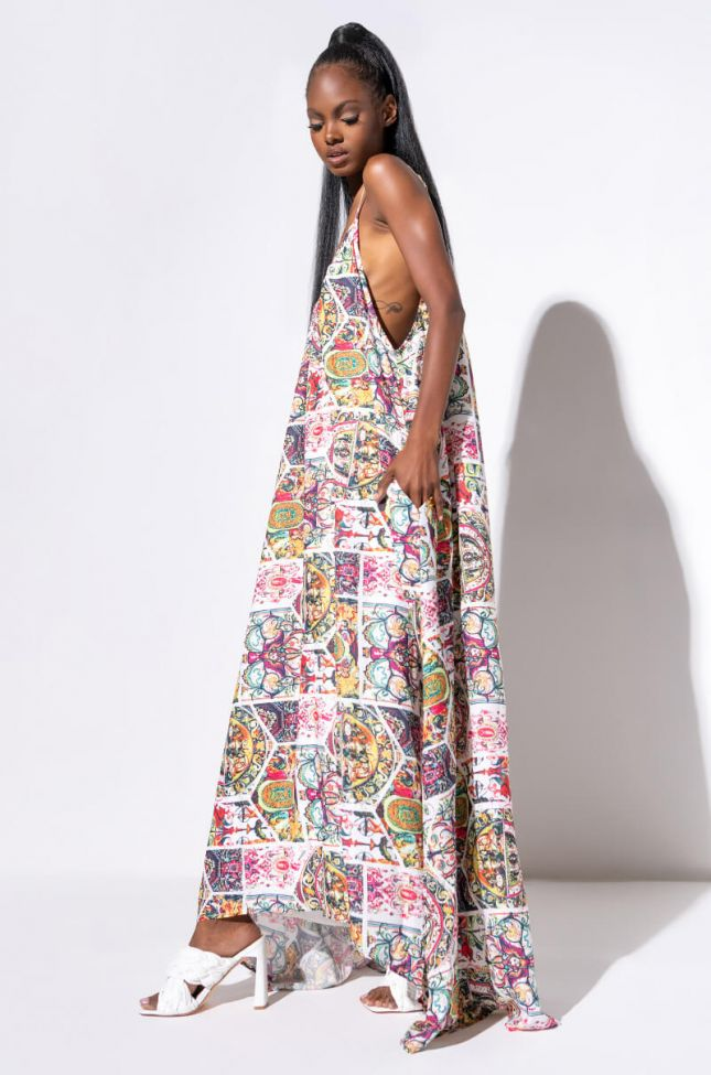 Front View Love Of My Life Maxi Dress in White Multi