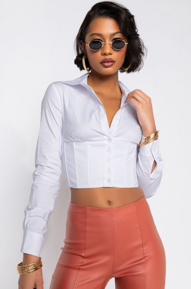 Front View Love On Top Cropped Blouse in White