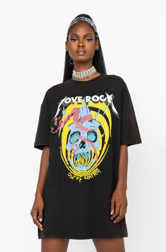 Front View Love Rock Studded Distressed Tshirt Dress in Black Multi