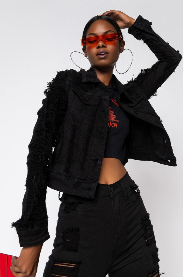 Front View Love You To Pieces Shredded Denim Jacket in Black