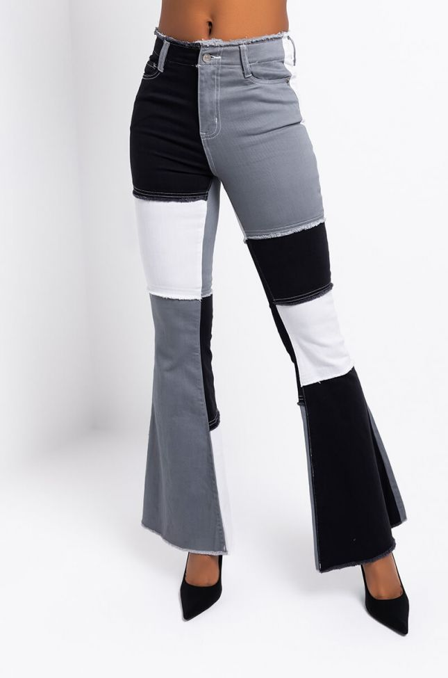 Front View Low Key Fire Denim Flare Pant in Grey Multi