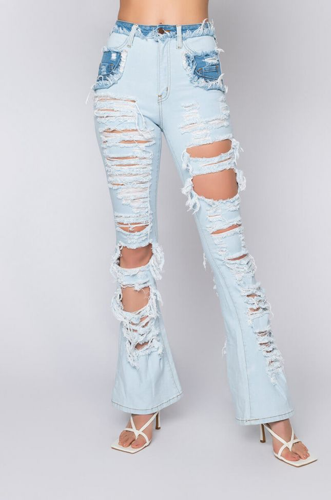 Front View Lucky You High Waisted Straight Jeans in Light Blue Denim