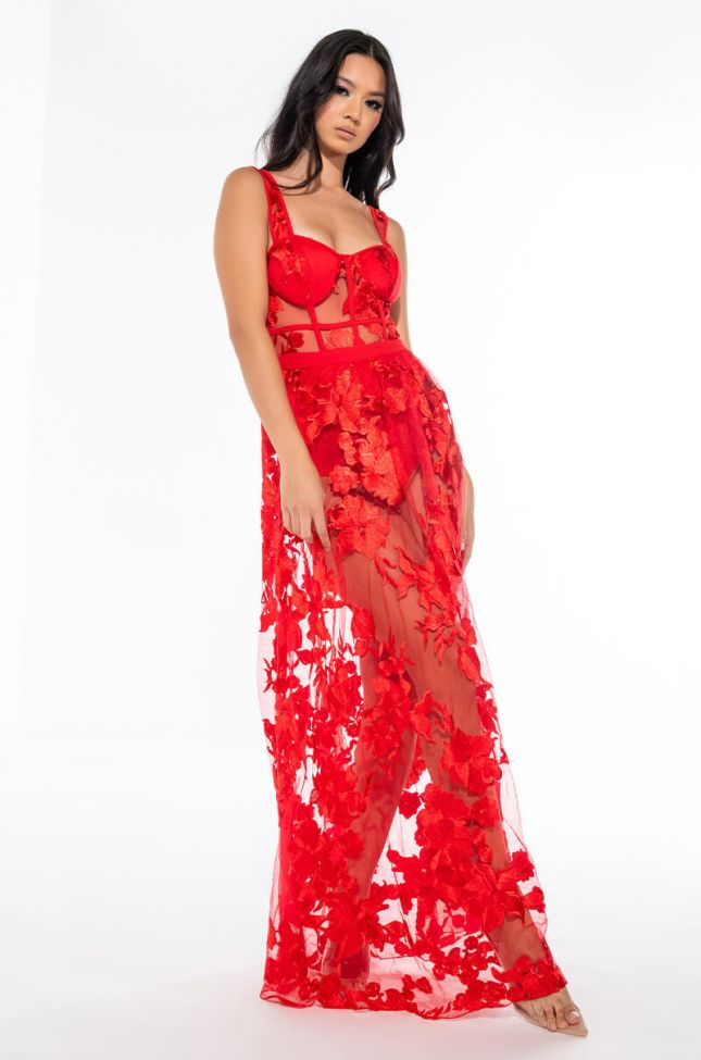 LUCY MAXI MESH DRESS WITH ATTACHED CORSET