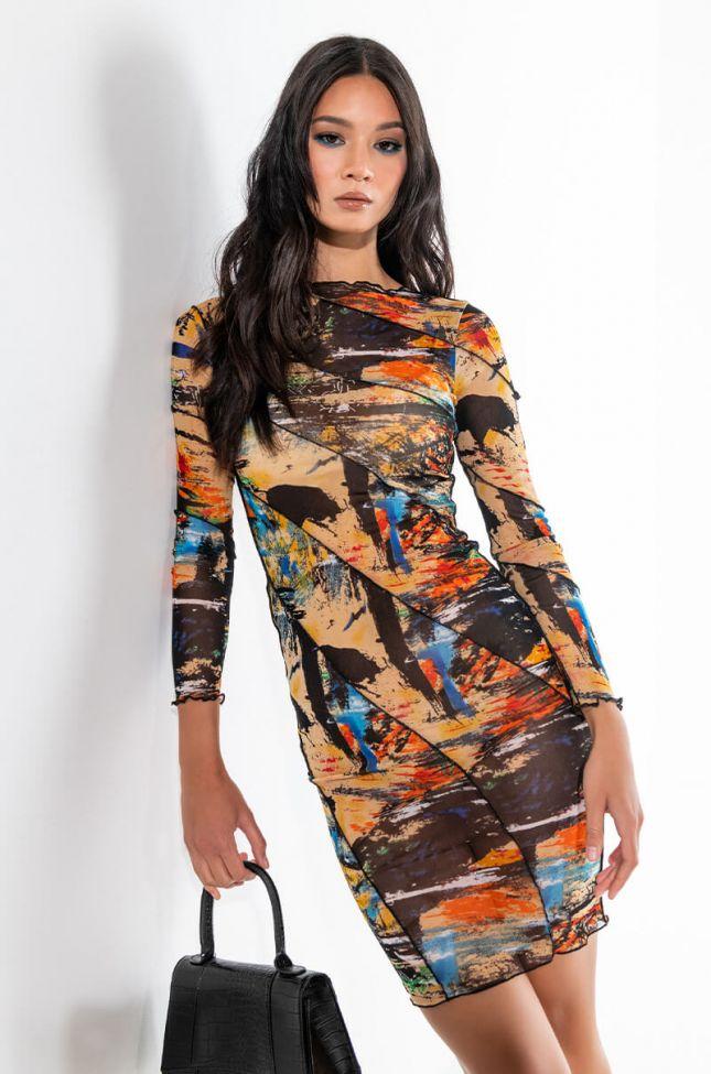 Front View Lurkin On Me Long Sleeve Mesh Midi Dress