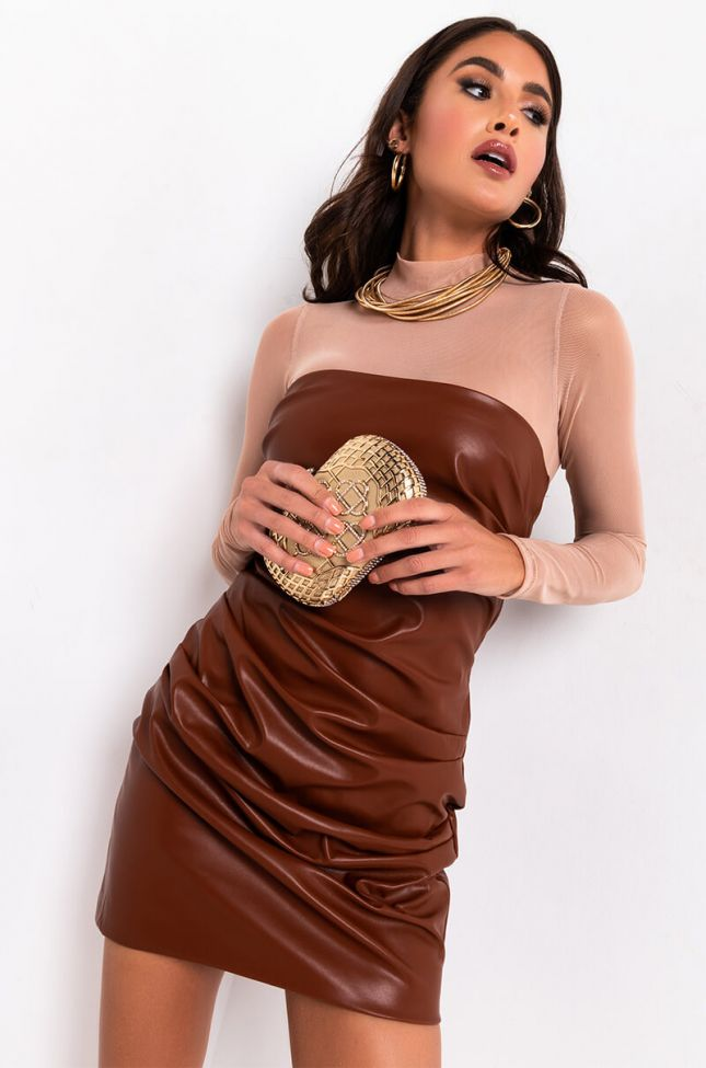 Front View Luxe Faux Leather Ruched Mini Dress in Brown