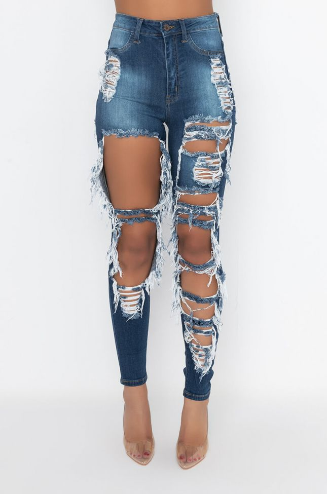 Front View Luxe High Waist Distressed Skinny Jeans