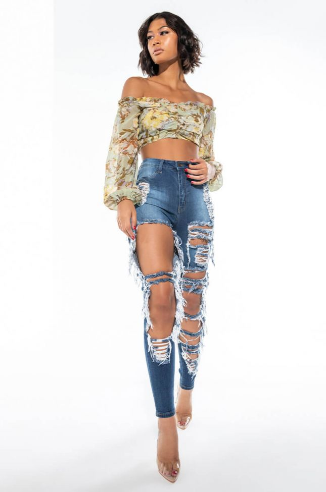 Extra View Luxe High Waist Distressed Skinny Jeans