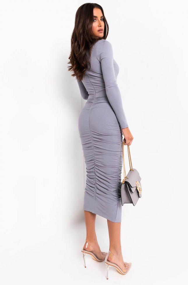 Back View Luxe Rib Ruche Midi Dress in Heather Grey