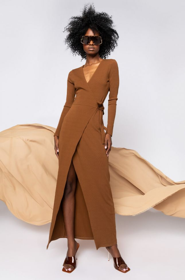 Front View Luxe Ribbed Long Sleeve Wrap Midi Dress in Brown