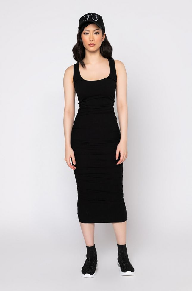 Front View Luxe Ribbed Ruched Back Midi Dress in Black