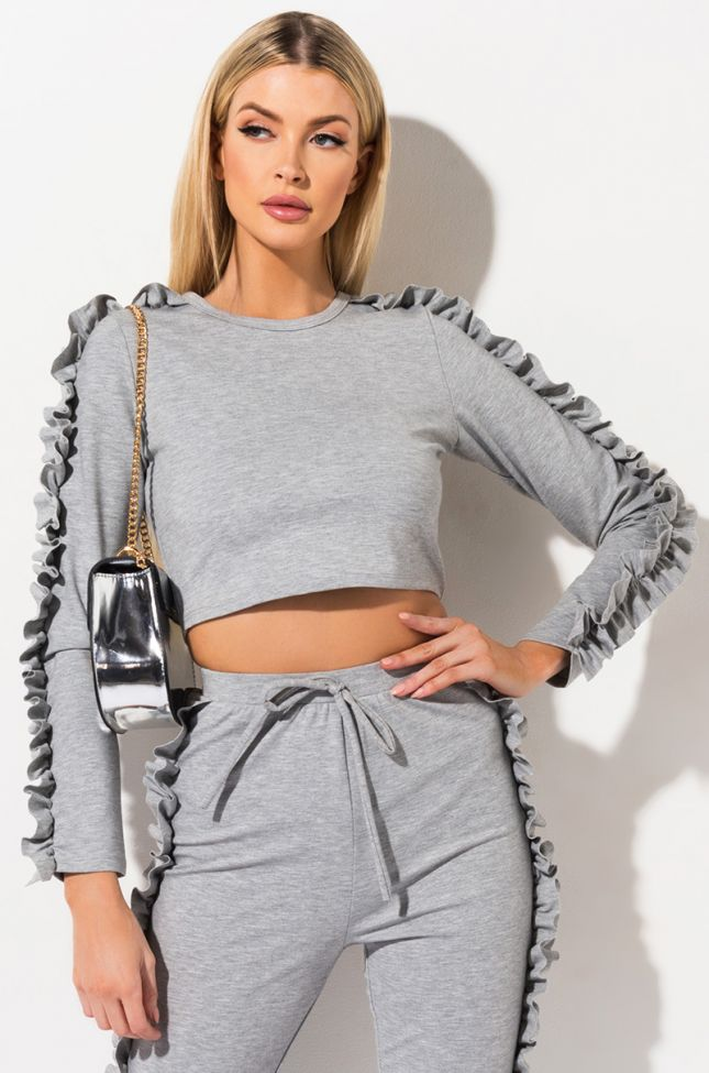 Front View Luxxi Ruffle Crop Top in Heather Grey