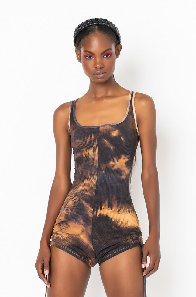 Front View Made To Show Out Romper in Brown Multi