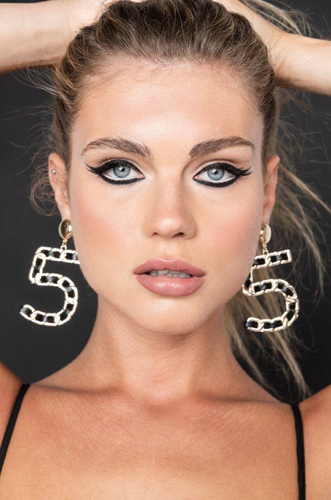Front View Mademoiselle Dangle Earrings in Black Gold