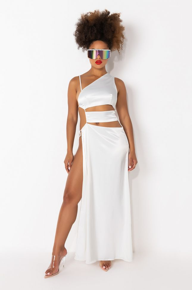 Front View Make A Toast Cutout Detail Maxi Dress in White