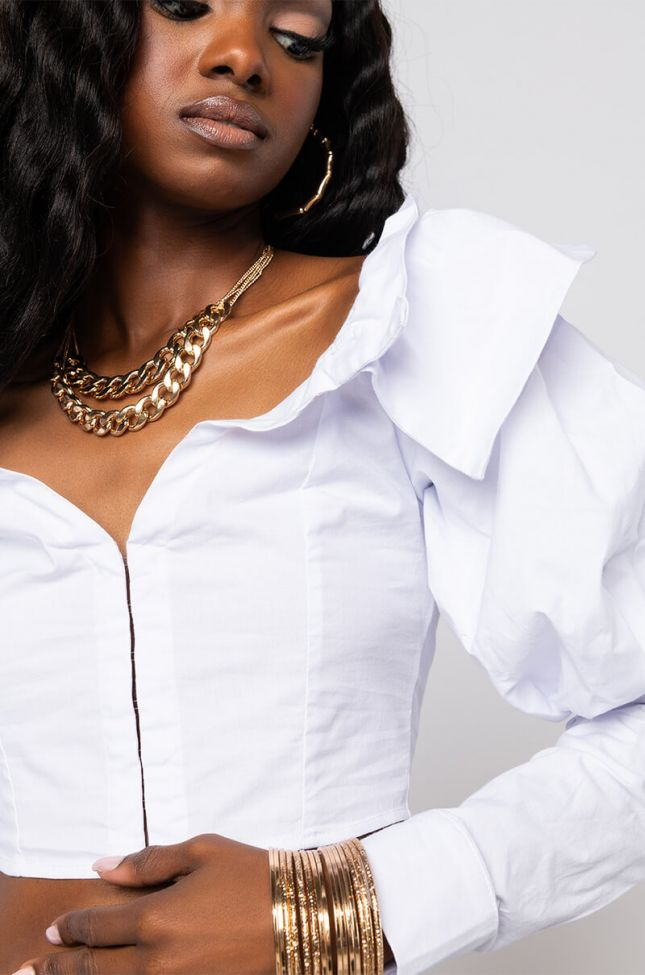 Detail View Make It Happen Off The Shoulder Puff Sleeve Blouse in White