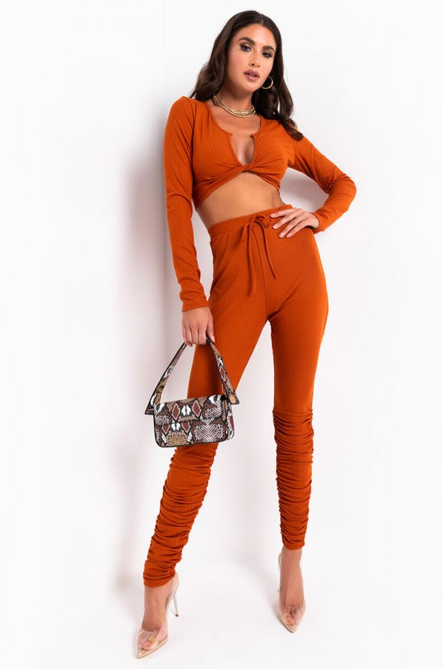 Full View Make It Hot Stacked Joggers in Rust