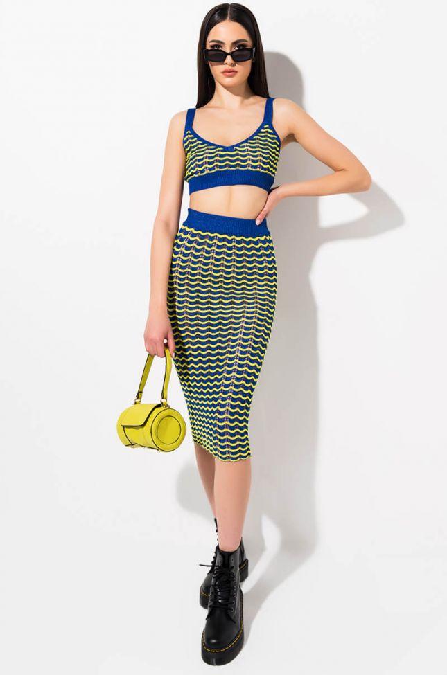 Front View Make U Feel Ok Midi Skirt in Blue Multi