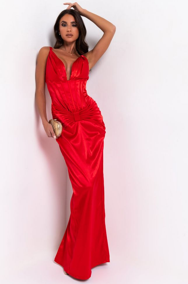 Front View Make You Work For It Sleeveless Formal Maxi Dress in Red