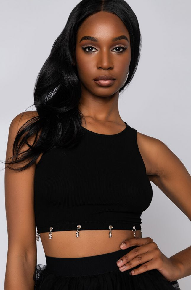 Front View Makes The World Go Round Dollar Sign Detail Top in Black