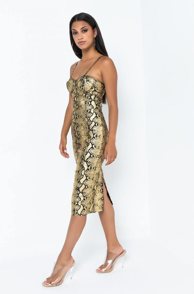 Side View Making My Way Bodycon Spaghetti Strap Midi Dress in Gold Multi