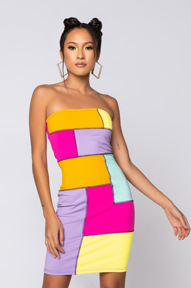 Front View Making The Band Strapless Contrast Stitch Mini Dress in Yellow Multi