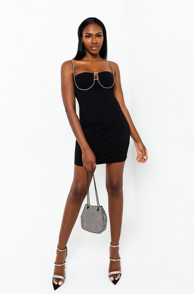 Front View Mamacita Diamond Detail Mini Dress in Black