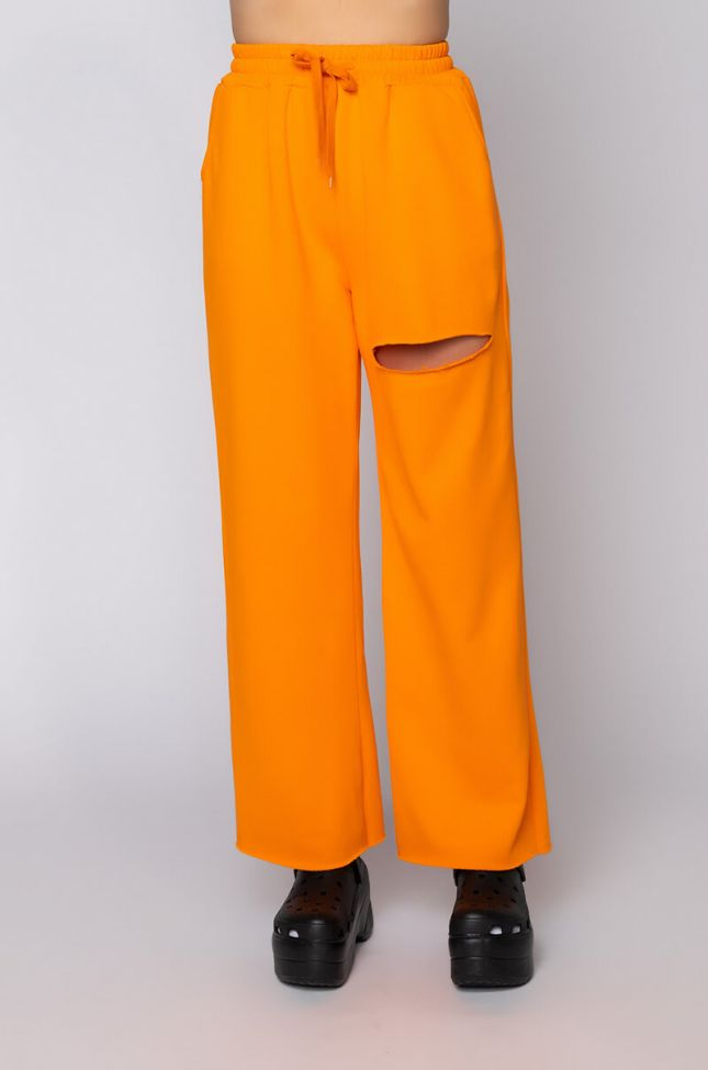 Front View Mango Pull On High Waist Wide Leg Joggers in Orange