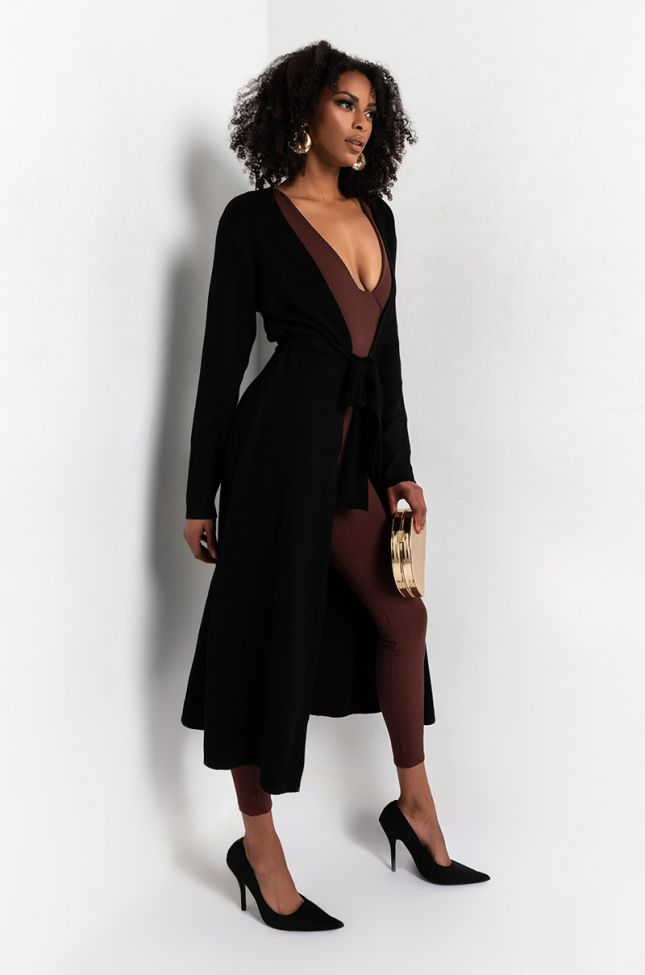 Back View Marcy Long Knit Belted Cardigan in Black