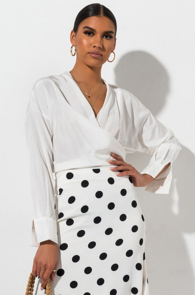Front View Material Girl Tie Front Blouse  in White