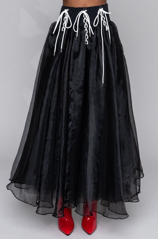 Front View Matrix Lace Up Tulle Skirt in Black