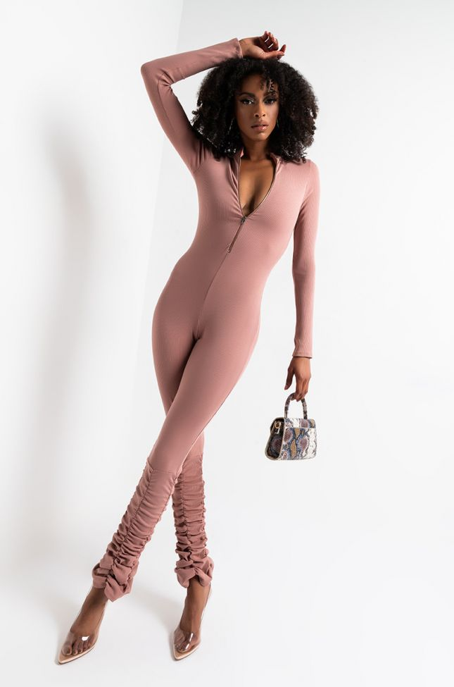 Front View Mauve Ribbed Stacked Leg Jumpsuit in Mauve