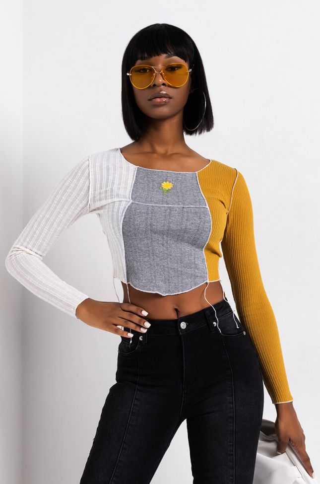 Front View Max Multi Color Stitch Long Sleeve Top in White Multi